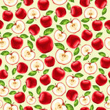 Red apples seamless pattern Stock Photos