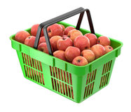Red apples in the shopping basket Royalty Free Stock Images