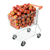 Red apples in a shopping cart. Stock Image