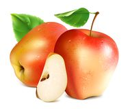Red apples with slice. Stock Photo
