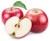 Red apples with slice. Royalty Free Stock Image