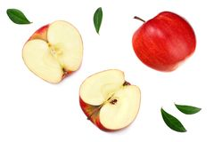 Red apples with slices isolated on white background. top view stock image