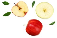 Red apples with slices isolated on white background. top view royalty free stock image