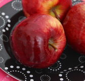 Red Apples. Some red apples on a plate royalty free stock image