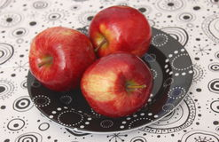 Red Apples. Some red apples on a plate stock photography