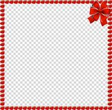 Red apples square border with festive ribbon. Red apple square photo frame or border with festive bow ribbon in corner isolated on transparent background. Vector Royalty Free Stock Image