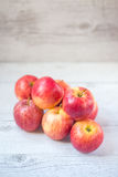 Red apples. Stack of red apples, focus on front apple Stock Photos