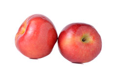 Red apples with stem on white Stock Photos