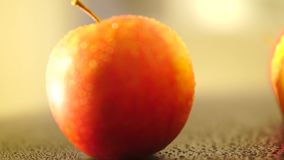 Red apples on a table stock video footage