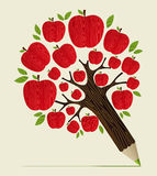 Red apples tree pencil concept vector illustration