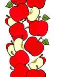 Red apples vertical border on white fruit illustration Royalty Free Stock Photo