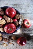 Red apples and walnuts in shells filled in basket, autumn scene Royalty Free Stock Image