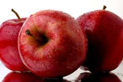 Red Apples with Water Drops Stock Photography