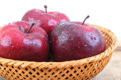 Red apples with water drops Royalty Free Stock Image