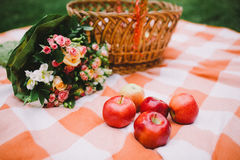 Red apples and wedding rings on a plaid blanket near the basket Stock Image