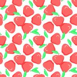 Red apples on white background, seamless pattern. Food fashion d royalty free illustration