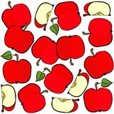 Red apples on white fruit seamless pattern. Delicious ripe red apples isolated on white background colorful fruit seamless pattern Royalty Free Stock Image