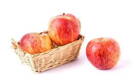 red apples in wicker basket Stock Photo