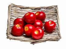 Red apples in wicker grey basket Stock Image