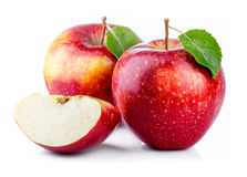 Red Apples With Leaf And Slice Isolated On A White Stock Photography