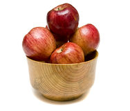 Red Apples in Wood Bowl Royalty Free Stock Photo