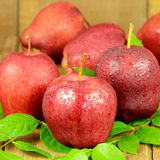 Red Apples on Wooden Background. Royalty Free Stock Photo