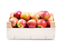 Red apples in wooden box Royalty Free Stock Image
