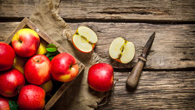 Red apples in wooden box with knife. Red apples in a wooden box with a knife. On wooden background. Top view stock image
