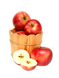 Red apples in wooden bucket Royalty Free Stock Image
