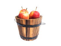 Red apples in wooden bucket Royalty Free Stock Photography