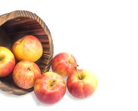 Red apples and wooden buckets Stock Photo