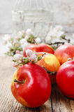 Red apples on wooden table Royalty Free Stock Photography
