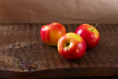 Red apples on a wooden table still life Stock Photo
