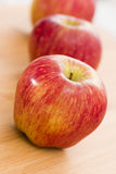 Red Apples on Wooden Table stock photography