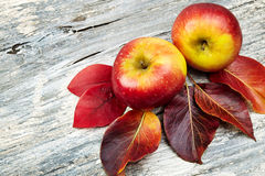Red apples on wooden table Stock Photos