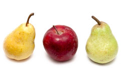 Red Apples, Yellow And Green Pears Royalty Free Stock Images