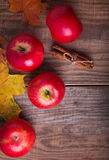 Red apples and yellow leaves Stock Image