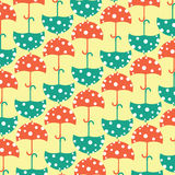 Red and aquamarine umbrella. Umbrella pattern red and aquamarine color Stock Image