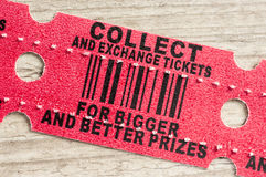 Red arcade prize ticket Stock Photo