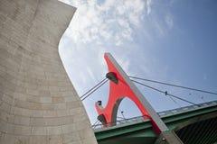 Red arch bridge, Bilbao, Spain royalty free stock image