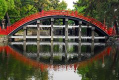 Red arched bridge Royalty Free Stock Photos