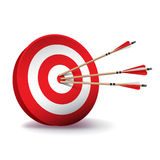 Red Archery Target with Arrows Illustration. A red archery target with red and white fletched wooden arrows in the center bullseye. Vector EPS 10 available Stock Photos