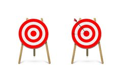 Red archery target stands with arrow. Vector design element. vector illustration