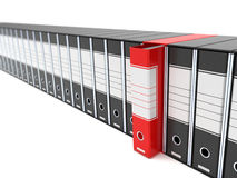 The red archive. A computer generated image of many archives and only a red one Royalty Free Stock Photos