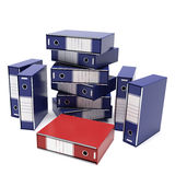 The red archive. A computer generated image of many archives and only a red one Royalty Free Stock Photo