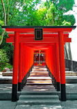 Red archs at Ikuta shrine God of love place ,Kobe. Royalty Free Stock Images