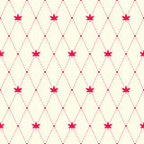 Red argyle and maple leaves seamless pattern Stock Photos