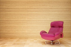 Red armchair. In the wooden room Vector Illustration