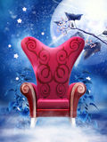 Red armchair above clouds Royalty Free Stock Photo