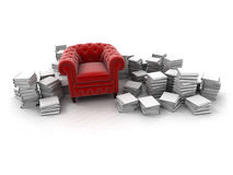 Red armchair and books. Red velvet club armchair surrounded by white books stock illustration